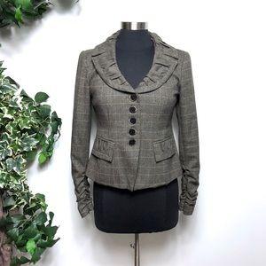 Nanette Lepore Plaid Ruched Blazer Jacket 6